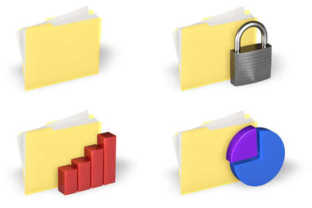 Yellow folder icons set isolated over a white background.  Stock Photo - 1639882