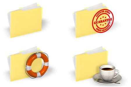 Yellow folder icons set isolated over a white background.  photo