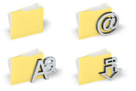 Yellow folder icons set isolated over a white background.  photo