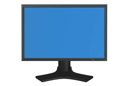 flat panel: Flat panel computer display isolated over a white background. Stock Photo