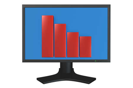 flat panel: Flat panel computer display with bar chart isolated over a white background.