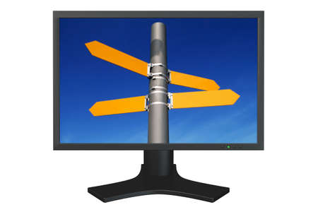 flat panel: Flat panel computer display with empty direction signs isolated over a white background. Stock Photo