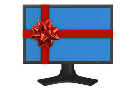 flat panel: Flat panel computer display with gift red ribbon isolated over a white background.