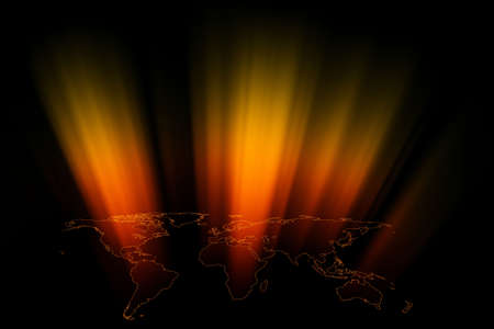 slideshow: World map abstract background with colored light beams.  Stock Photo