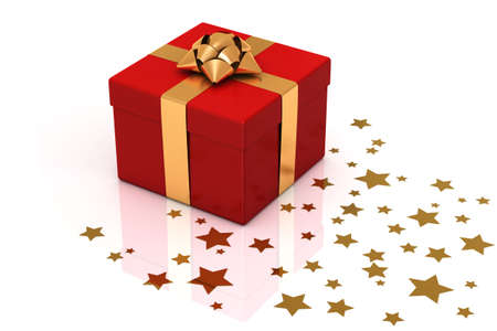 Gift box with star shaped decoration over a white background. photo