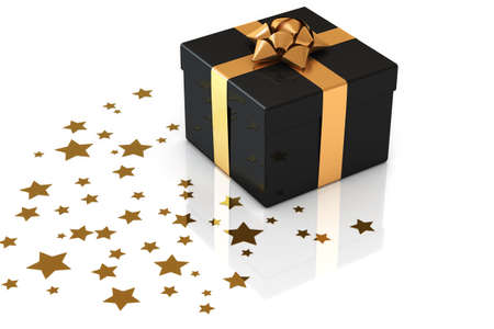 Gift box with star shaped decoration over a white background.