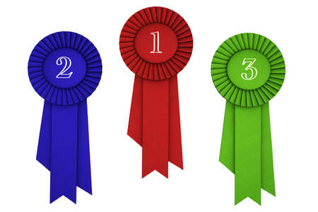 merit: Three red, blue and green ribbons isolated over a white background. Stock Photo