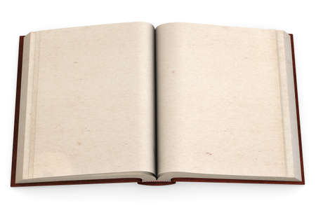 Open antic book with empty pages isolated over a white background. photo