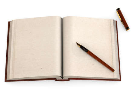 Open antic book with empty pages and a fountain pen isolated over a white background. photo