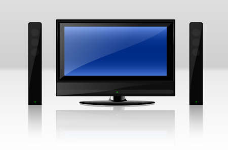 Modern LCD TV set isolated over a white background.