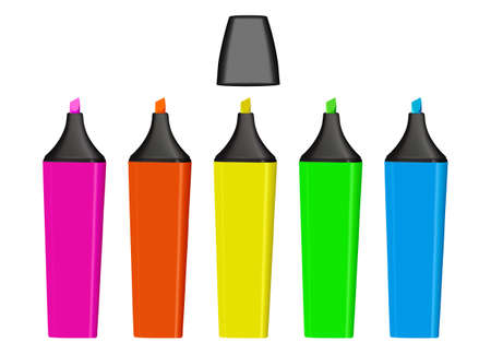 Colorful highlighter pens isolated over a white background.  photo
