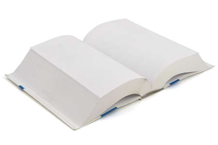 Open book isolated over a white background. Pages are blank. photo