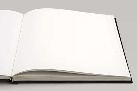 Open book isolated over a light background. Pages are blank. photo