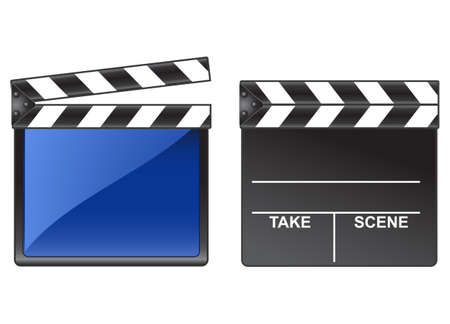 flick: Two different clappers illustration isolated over a white background. Stock Photo