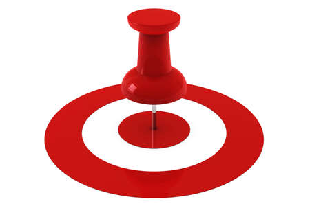 thumbtack: Red pushpin in the center of a target isolated over a white background. Stock Photo