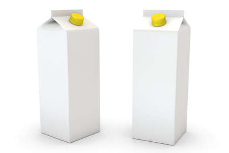 Two milk boxes isolated over a white background Stock Photo - 2860214