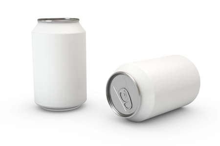 Two soda cans isolated over a white background