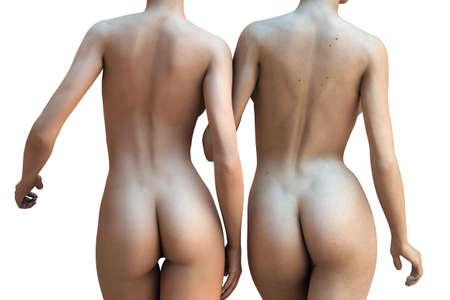 mujer desnuda de espalda: Dos mujeres sexy desnudo aislado en un fondo blanco (3D render)  Foto de archivo