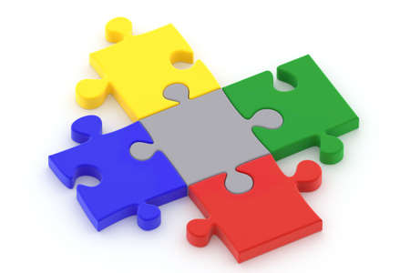 Colorful puzzle pieces isolated ower a white background.