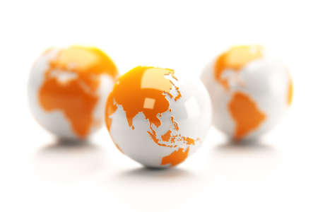 Earth globes isolated over a white background. Stock Photo