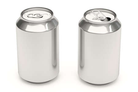 drink can: Aluminium soda cans isolated over a white background. Stock Photo
