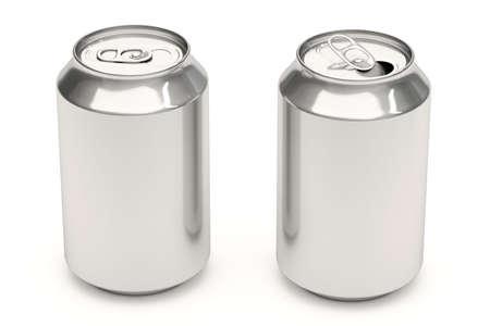 lata de refresco: Las latas de refrescos de aluminio aislado en un fondo blanco. Foto de archivo