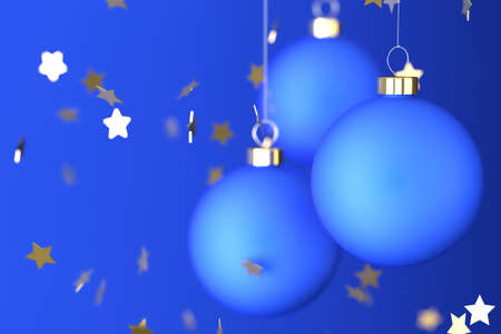 teknik: Christmas balls and ornaments over a blue background.