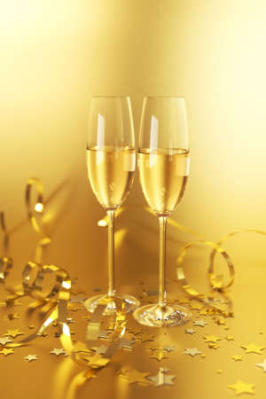 Two champagne flutes on a golden background