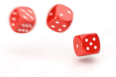 probability: Rolling dices with motion blur isolated over a white background Stock Photo