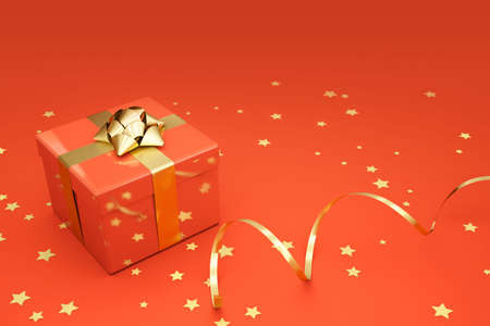deep orange: Present box with ornaments over a vivid deep orange background.