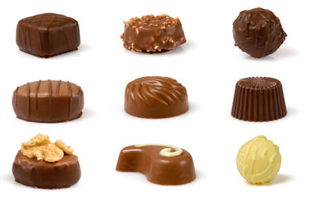 Set of swiss pralines isolated over a white background.