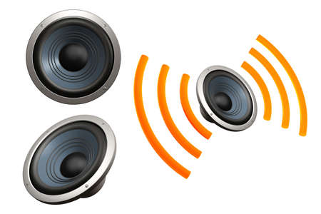 Set of speakers, one with sound waves, isolated over a white background. Stock Photo