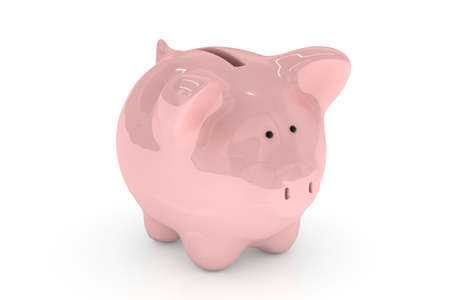 Piggy bank isolated over a white background. photo
