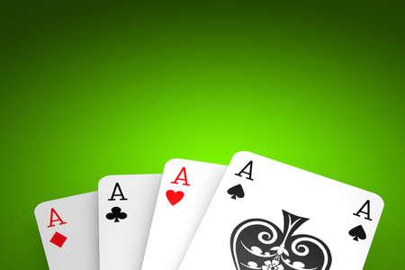 Poker winning hand over a green background.