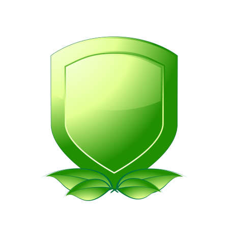 Green shield emblem over a white background. Vector image. Vector