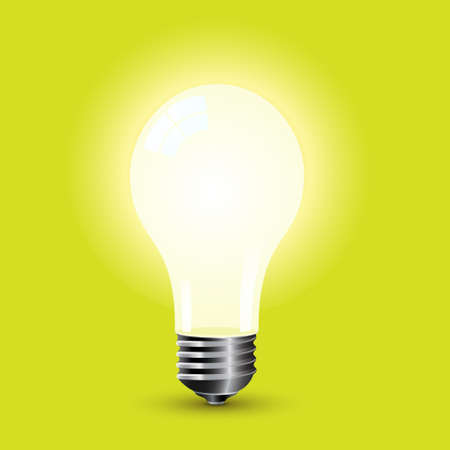 Bright Light Bulb Standing On A Green Background Stock Vector