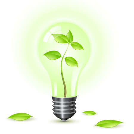 environmental awareness: Environmental light bulb isolated over a white background. Illustration