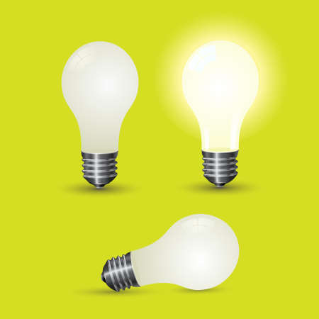 Various light bulb over a green background. Stock Vector - 6568964
