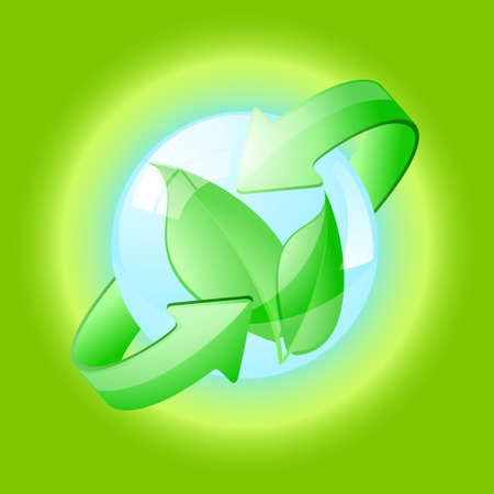 environmental awareness: Environmental conceptual illustration over a green background.