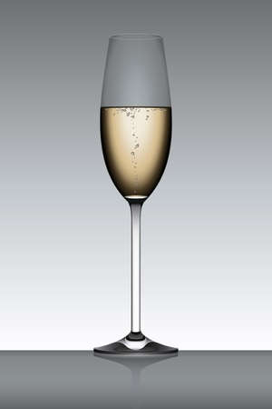 Champagne flute isolated over a gray backlit background.  Stock Vector - 6594509