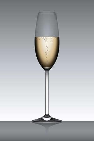 Flûte à Champagne isolé sur un fond gris contre-jour.