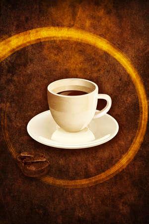 Coffee espresso cup on grunge browm background. Illustration bitmap image. illustration