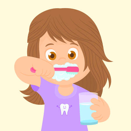 Little girl brushing her teeth Illusztráció
