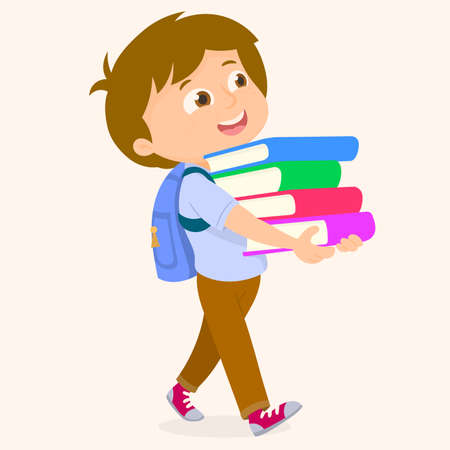 Child carrying a stack of books
