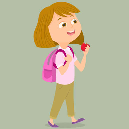 Girl walking to school with apple in hand Illustration