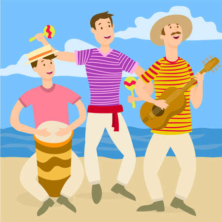 Musical trio on the beach