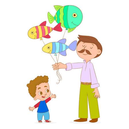 Hombre dando un montón de globos a un niño