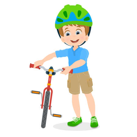 Child with bicycle ready to go for a walk