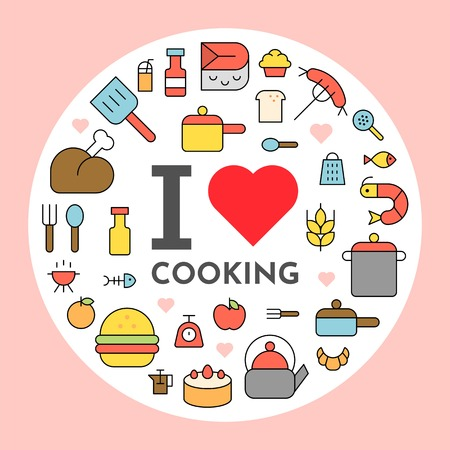 I love cooking text and cooking icon background flat design editable outline