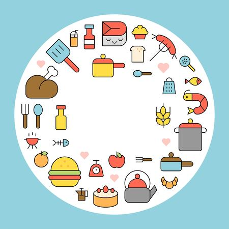 cooking icon background flat design editable outline  イラスト・ベクター素材